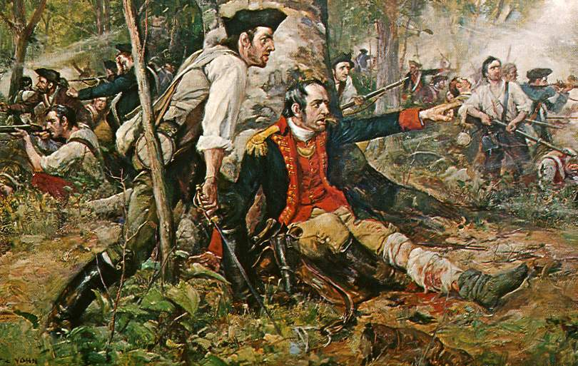 An oil painting titled Herkimer at the Battle of Oriskany.